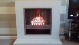 marble fireplace & gas fire