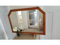 Pine framed over mantle mirror in good condition