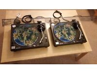 "Pair of Technics 1210 mk2 + Shure Whitelabel cartridges + new dust covers + ""sic matz"" slipmats"