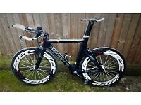Argon 18 E112 54cm (size medium) frame, full carbon fibre TT/triathlon bike w/carbon wheelset