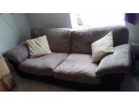 Three Seater Microfibre Cloth Sofa with Cushions