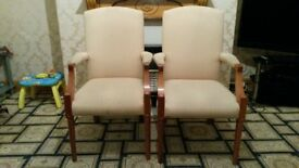 Gold/Cream strong wooden dining chairs