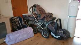 Mamas and Papa's multi set +buggy, car seat and 2 x nappy bins.