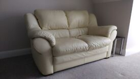 2 Seater Cream Leather Sofa - Great Quality