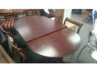 Large extendable dining table dark wood
