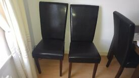 6 x brown faux leather dining chairs