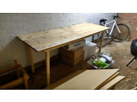 Wooden workbench / garage table - large, sturdy