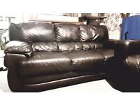 3 seater black real leather sofa