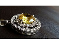 5 CARATS YELLOW SAPPHIRE, WHITE TOPAZ, GENUINE 925 STERLING SILVER PENDANT NECKLACE