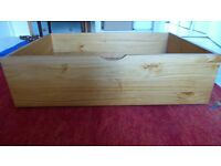 4 New Underbed Storage Drawers. Finish: Pine. 25cm H x 90W x 60D were £46.99 each. Collect G84 8NH
