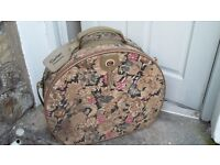 Vintage carlton fabric carpet bag round suitcase