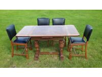 Antique extendable table and four chairs