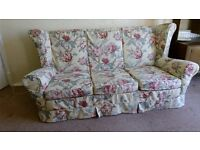 3 piece fabric sofa Settee and 2 Arm chairs with removable covers