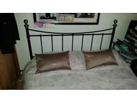 Double bed frame in black and nickel/brass