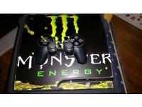 PS3 SLIM 120GB 1 CONTROLLER REMOTE HEADPHONES GAMES