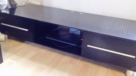 Large tv cabinet 55 in long black high gloss
