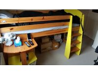 Used Childs Cabin Bed Yellow and Oak Finish with desk, chest of drawers and bookcase. RRP £420