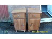 PAIR PINE BEDSIDE CABINATES