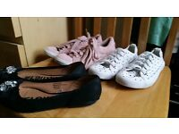 Pink trainers white trainers and school shoes Size 1