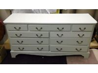Shabby chic nine draw chest of drawers