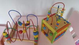 Wooden activity cube/toys bundle