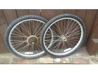 24 INCH BIKE WHEELS WITH TYRES AND TUBES (LISTED TIL SOLD)