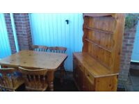 SOLID PINE FARMHOUSE DINING TABLE & 4 CHAIRS WITH WELSH DRESSER