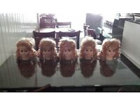 Dummy Girl kids Heads Curly Hair x 5,Five.