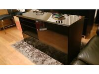 Ikea Besta TV Unit / Sideboard Black/Brown with Black Gloss Doors and Drawers and Black Glass Top
