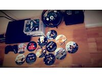 PS3 Fully Funtional, No Promblems ( 1Pad ) 12 Games With Steering Wheel