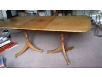 Dining table, Mahogony, with removable middle leaf. pedestal legs.
