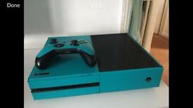XBOX ONE WRAPPED IN AQUA BLUE PRICE CAN BE TALKED ABOUT