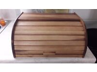 WOOD WOODEN ROLL TOP BREAD BIN STORAGE CONTAINER BOX