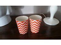 Orange Tealight Holder Holders or Small Plant Pot Pots