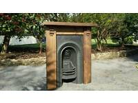 Original Victorian Cast Iron Antique Fireplace Insert and Hand Made Reclaimed Timber Surround