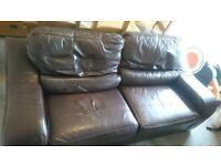 Leather sofa brown two seater