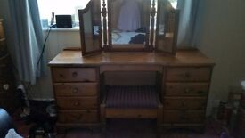 9 drawer pine dressing table with triple mirror and stool