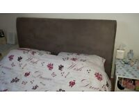 KING SIZE GREY SUEDE FEEL BED FRAME WITH ATTACHED HEADBOARD