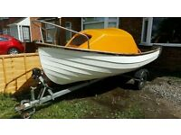 15' Fishing Boat with Solid Snipe Trailer - Day Boat / River Cruiser / Cuddy Boat / Cabin / Harbour