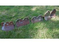 Reclaimed terracotta and blue clay decorative ridge tiles