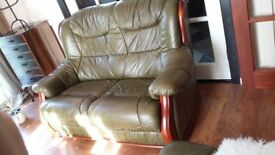 Small 2 seater leather sofa green