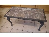 Charcoal grey chalky painted glass topped coffee table