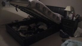 Black faux leather storage bed, excellent condition
