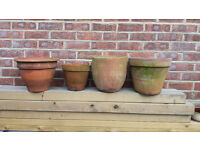 FOUR Large Aged Teracotta Garden Pots