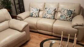 Leather Suite. Pale Grey