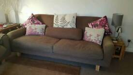 Two Large Brown Comfortable Sofas