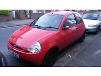 RED FORD KA FOR SALE, LOW MILEAGE, FULL MOT