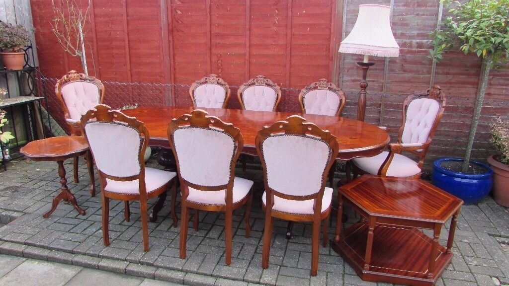 dining set,mahagony,8 chairsin Bournemouth, DorsetGumtree - dining set,mahagony,8 chairs 6 chairs,2 arm chairs in very good condition, hand made high standard finish with upholsery on chairs, table top has minor marks (can be seen on photo nothing manor, the white spots on top of table is simply dirt, i didnt...