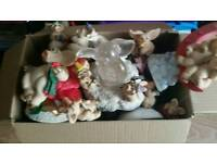 Large box of pigging collectable ornaments