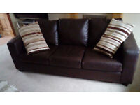 Brown leather-look sofa